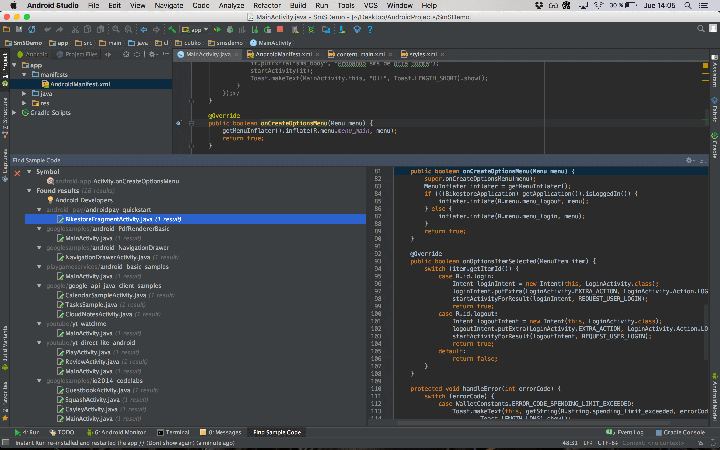 find_code_sample_android_studio_22